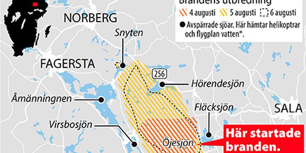 norberg sverige kart Karta: Så har branden spridits   och krympt | Göteborgs Posten  norberg sverige kart