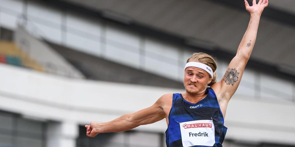 Fredrik Samuelsson under hopptävlingen på Ullevi i helgen.  Bild: CARL SANDIN