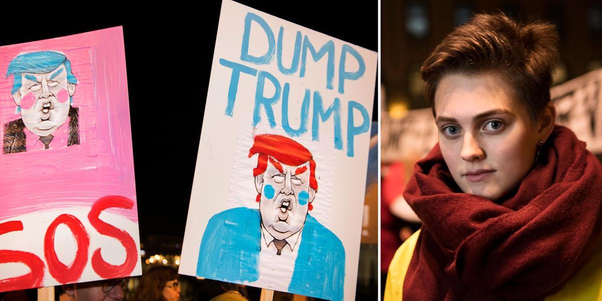 Göteborgare protesterade mot Trump