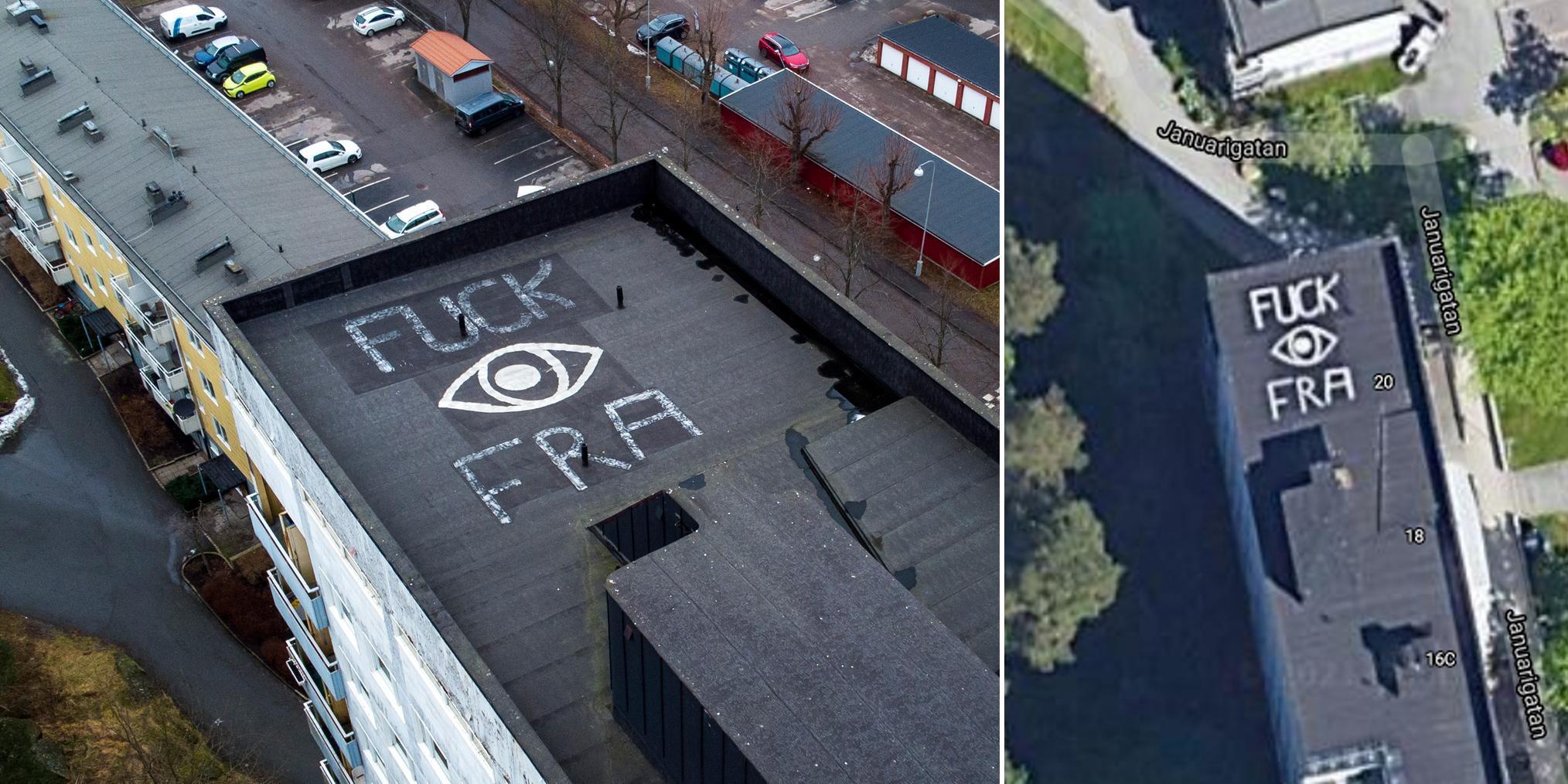 Kritiskt budskap mot FRA på hustak i Kortedala