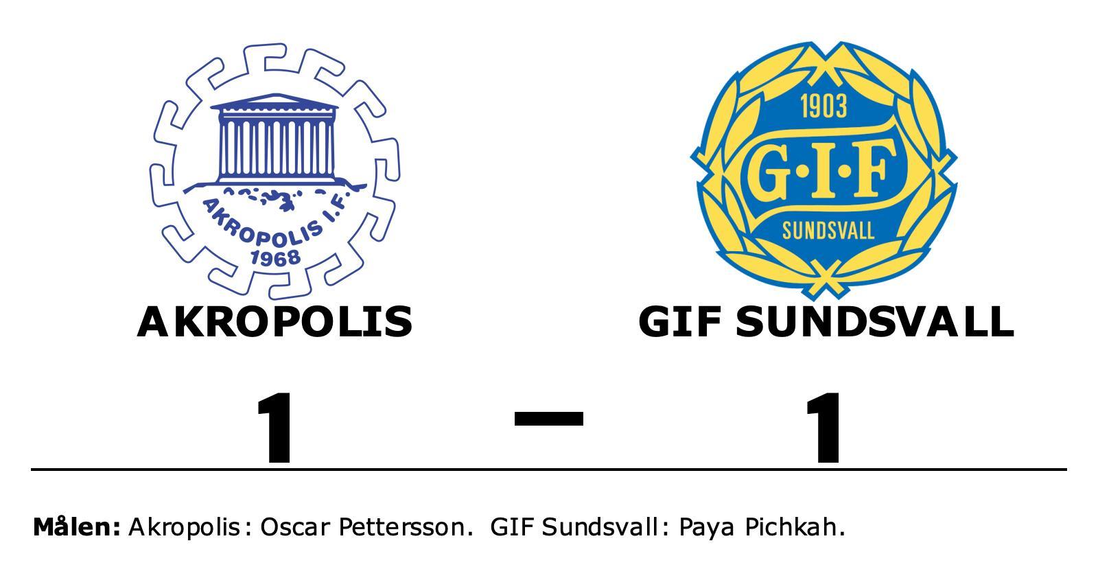 Akropolis och GIF Sundsvall delade på poängen efter 1-1
