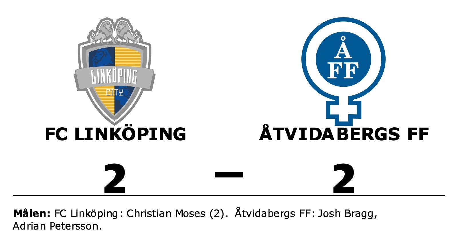 FC Linköping lyfte sig i andra och fixade kryss hemma mot Åtvidabergs FF